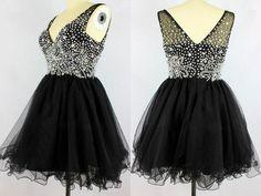 Black V-neck Sleeveless Beading Prom Dresses Homecoming Dresses,Short prom dress