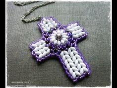 How to make a cross using superduo beads, bead tutorial, diy jewelry