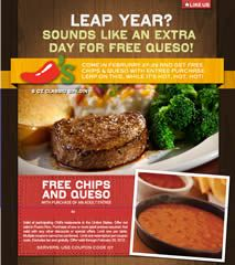 FREE Chips and Queso at Chili's on http://www.icravefreebies.com