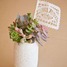 centerpiece personalized lace succulent fiesta mexican flags Fall Spring Summer details