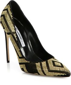 Brian Atwood Alis Studded Suede Pumps in Gold (BLACK-GOLD)