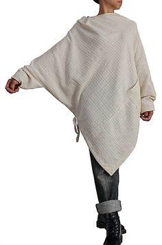 ターポン手織綿のポンチョ風チュニック   BFS-139-02