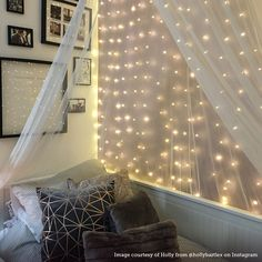 Beautiful bright lights for your bedroom. These copper curtain wire lights add a romantic feel, with the subtle twinkling of warm white LEDs. #bedroomlighting #homedecor #interiordesign #feelgood #fairylights
