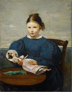 Little girl with doll by Camille Corot, French 19th century -