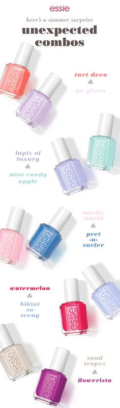 This summer surprise yourself with unique mani-pedi combos. For a creative summer look use a coral 'tart deco' and purple 'go ginza'. Keep people guessing with 'lapiz of luxury' and 'mint candy apple'. Catch summer off-guard with pink 'muchi, muchi' and blue 'pret-a-surfer'. Have fun in the sun with juicy red 'watermelon' and sparkling 'bikini so teeny'. Or turn heads with a neutral 'sand tropez' and plum 'flowerista'. Whatever essie nail polish you go with, it's sure to be your favorite…