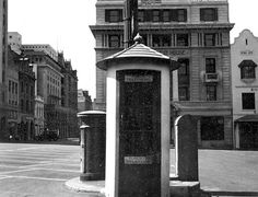 Public Telephone Kiosk and Post Box, Greenmarket Square, Cape Town Photo: Arthur Elliott Vintage Photographs, Vintage Photos, Post Box, Kiosk, Cape Town, Telephone, Old Houses, South Africa, Old Things