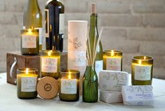 Paddywax -Eco Green Collection. Made from old wine bottles. Candles, diffusers, and shea butter and olive oil soap.