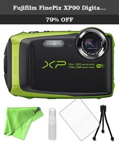 """Fujifilm FinePix XP90 Digital Camera Green. Compact and portable, yet rugged enough to handle even the most trying of conditions, the blue FinePix XP90 Digital Camera from Fujifilm is a point-and-shoot featuring water, shock, freeze, and dustproof construction. A 16.4MP 1/2.3"""" CMOS sensor produces high-resolution stills and full HD 1080p video, which is complemented by a 5x Fujinon zoom lens that covers a 28-140mm equivalent focal length range. Sensor-shift image stabilization minimizes…"""