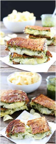 Pesto, Artichoke, and Havarti Grilled Cheese Recipe on http://twopeasandtheirpod.com This grilled cheese is bursting with flavor! A MUST make!