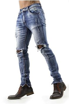 Looking for mens distressed skinny jeans? Shop for distressed jeans for men with ripped knees and ankle zippers in a faded medium wash. Buy ripped jeans here! Mens Distressed Skinny Jeans, Distressed Jeans Outfit, Ripped Jeans Men, Sexy Jeans, Skinny Fit Jeans, High Jeans, Ripped Knees, Women's Jeans, Boyfriend Jeans