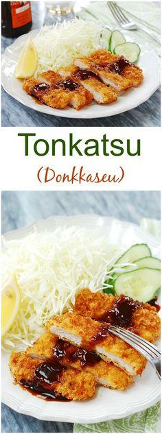 Tonkatsu (Donkkaseu) Easy tonkatsu recipe – Crispy, crunchy and delicious deep-fried pork cutlets! Pork Recipes, Lunch Recipes, Asian Recipes, Cooking Recipes, Healthy Recipes, Healthy Food, Drink Recipes, Cooking Tips, Chicken Recipes
