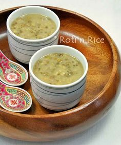 Sweet Mung Bean and Sago Soup, a  delicious and popular Chinese dessert. The addition of pandan leaves, sago, and coconut milk is a Southeast Asian enhancement. | RotiNRice.com