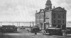 """Alton's first City Hall was on the levee in the center of town. It was completed in 1958, and was the site of the last of seven debates between Abraham Lincoln and Stephen A. Douglas. The City Hall building originally contained the jail and police quarters, and the fire department. The building also housed a small """"reading room,"""" Alton's first library. It served as the terminus of the streetcar lines. The area is now Lincoln-Douglas Square, a stop on the Civil War and Lincoln Legacy Trail…"""