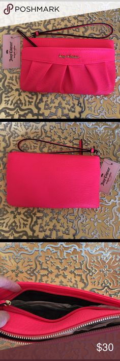 "NEW JUICY COUTURE WRISTLET New Juicy Couture leather pink wristlet..two pockets..cc holder inside..dimensions: 9""x5""..brand new with tags..refer to pics.. Bird by Juicy Couture Bags Clutches & Wristlets"