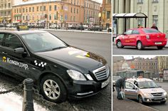 Taxis in St Petersburg, Russia.