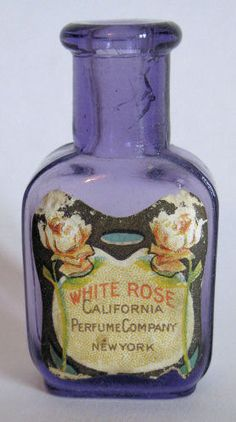 Beautiful purple Antique CALIFORNIA PERFUME Co. bottle pre- AVON, from the 1800's.  White Rose Perfume-