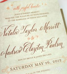 Rustic Sweet Coral Invitation Suite SAMPLE ONLY di onelittlem