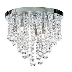 Litecraft Chrome Montego 9 Light Flush Crystal Ceiling Light- at Debenhams.com