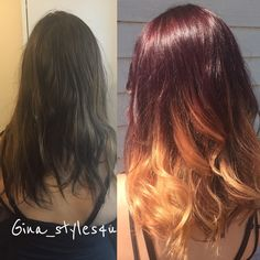 Red ombré blonde hair style color melt before and after MilkshakeUSA hair color  mahogany red curls trend red to blonde ombré balayage copper red