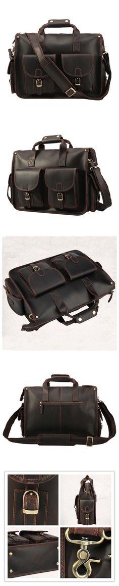 Crazy Horse Leather Tote Bag Vintage Messenger Bag Shoulder Laptop Bag W1438-2 Laptop Briefcase, Leather Briefcase, Laptop Bag, Vintage Messenger Bag, Laptop Shoulder Bag, Crossbody Bag, Tote Bag, Crazy Horse, Horses