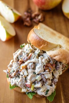 Autumn Honeycrisp Apple and Candied Walnut Chicken Salad on Buttery Brioche Toast | thecozyapron.com