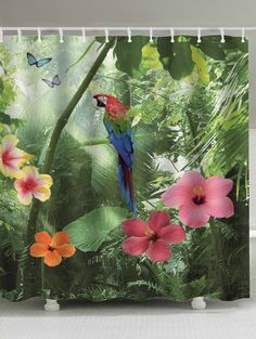 Selva Plants Print Extra Long Shower Curtains With Images Custom Shower Curtains Printed Shower Curtain Curtains