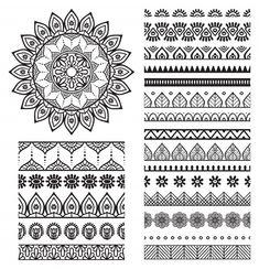 Mehndi Indian Henna Tattoo Seamless Pattern Stock-Vektorgrafik (Lizenzfrei) 277911125 - New Site Mandala Doodle, Mandala Art Lesson, Mandala Drawing, Mandala Painting, Dot Painting, Doodle Art, Mandala Symbols, Mandala How To Draw, Mandala Artwork