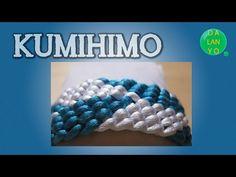 Pulsera de kumihimo cuadrado rombos azul blanco - YouTube