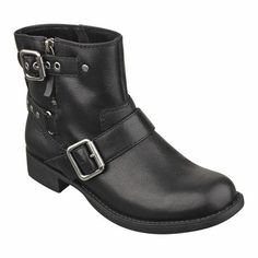 """ay I want for fall!! Biker chic bootie with buckle hardware. Almond toe 1"""" bootie with side zipper. Leather upper."""