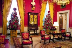 The Red Room at the White House  decorated for Christmas.