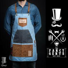 FancyGents - Custom Made Aprons Waiter Uniform, Barber Apron, Restaurant Uniforms, Barn Door Designs, Custom Aprons, Apron Designs, Gaston, Fabric Wallpaper, Leather Fabric