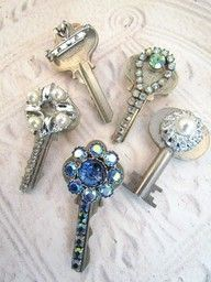 decorate old keys to turn them into adorable charms, ornaments, pins, package ties, you name it!! -----  I may be addicted to pinterest as I feel compelled to keep pinning these great finds. ****************** IF YOU WANT TO SEE MORE GOODIES, JUST CLICK ON THE LIKE BUTTON and RE-PIN IT TO ONE OF YOUR BOARDS SHARE THE PINTEREST LOVE! *****************