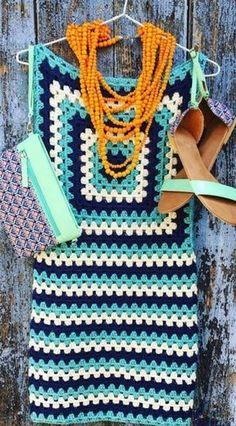 Платье с узором крючком