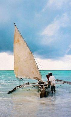 The water is a pristine blue, Zanzibar.
