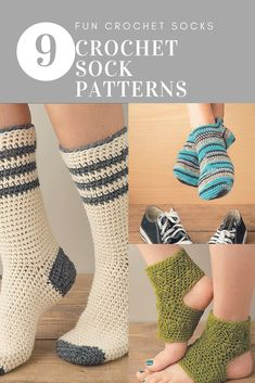 Crochet Sock Patterns | 9 Crochet sock patterns that are fun and easy to crochet | Super Cute and Cozy Easy to Make Fun Crochet Socks 9 Cozy Sock Designs to Crochet Patterns
