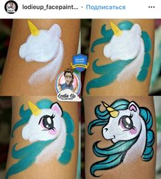 Face Painting Unicorn, Girl Face Painting, Unicorn Art, Painting For Kids, Body Painting, Face Paintings, Face Painting Tutorials, Face Painting Designs, Homemade Face Paints