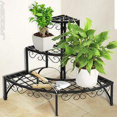 Iron Plant Stand Shelf 3 Tier Garden Patio Indoor Corner Outdoor Storage Round in Garden & Patio, Pots/ Window Boxes/ Baskets, Other Pots/ Boxes/ Baskets | eBay