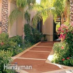 Renew Your Concrete Patio - Step by Step | The Family Handyman - good idea for creating a walkway around the house but avoiding boring concrete
