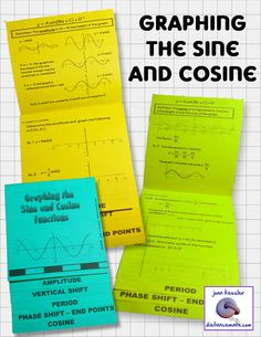 Graphing the Sine and Cosine Flip Book with HW / Quiz for Trigonometry, PreCalculus, and some Algebra 2 classes.   This Graphing the Sine and Cosine mini bundle reinforces and reviews Amplitude, Phase Shift, Period, Vertical Shift, finding the End Points, and graphing of sinusoidal functions.   Over 16 examples, many for students to complete. Great Study Guide, Great activity.