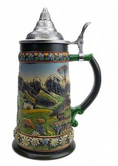 Tyrol Austrian Alps Beer Stein with Lid - GermanGiftOutlet.com - 1