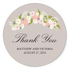 Spring Wedding Thank You Cards Floral Wreath Wedding Classic Round Sticker