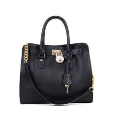 Michael Kors Factory New Hamilton East West Satchel Black Leather