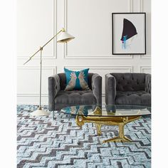 Hand-Knotted - Blue and Navy Stepped Bridget Rug