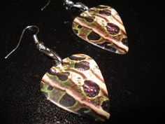 REPTILE SKIN GUITAR PICK EARRINGS by thejewelrydream on Etsy, $6.99