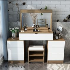 Mau ban trang diem go cong nghiep hien dai Bedroom Bed Design, Small Room Bedroom, Home Decor Bedroom, Dressing Table Design, Dressing Table Vanity, Dressing Mirror, Side Tables Bedroom, Bathroom Design Small, Interior Design Tips