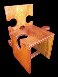 Jigsaw Puzzle Chair- Come apart into pieces- Multiple chairs can be joined to make a bench