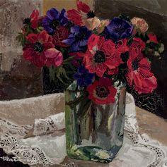 Flower vase - Francesc Poch Romeu Catalan 1935-2008 Oil on canvas. 46 x 46 cm.