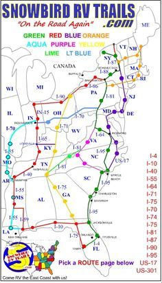 Planning & Mapping the Best East Coast Snowbird RV Routes North and South