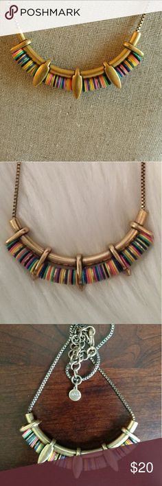 Stella and Dot Wanderer Necklace Retired piece. Excellent pre loved condition. Antiqued golden metal with multicolor beads. Can be worn 2 ways. Last picture shows actual necklace for sale. Stella & Dot Jewelry Necklaces