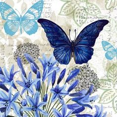 Blue Floral Study Embossed Paper Cocktail Napkin, 20 count Butterflies & hearts symbols the soul and change and love. this is a wonderful collage. Vintage Butterfly, Blue Butterfly, Decoupage Vintage, Vintage Paper, Paper Art, Paper Crafts, Butterfly Pictures, Embossed Paper, Beautiful Butterflies